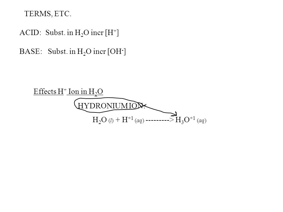 TERMS, ETC. ACID: Subst. in H2O incr [H+] BASE: Subst. in H2O incr [OH-] Effects H+ Ion in H2O.